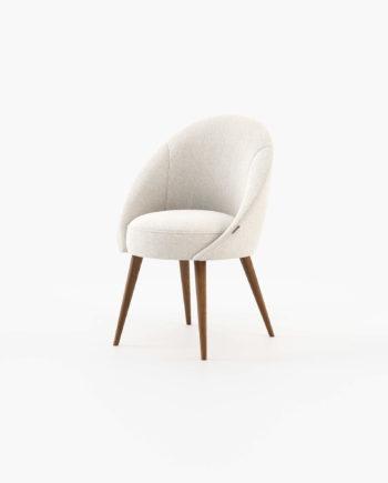 Cadeira Andel em Tecido Alinhado White e Nogueira