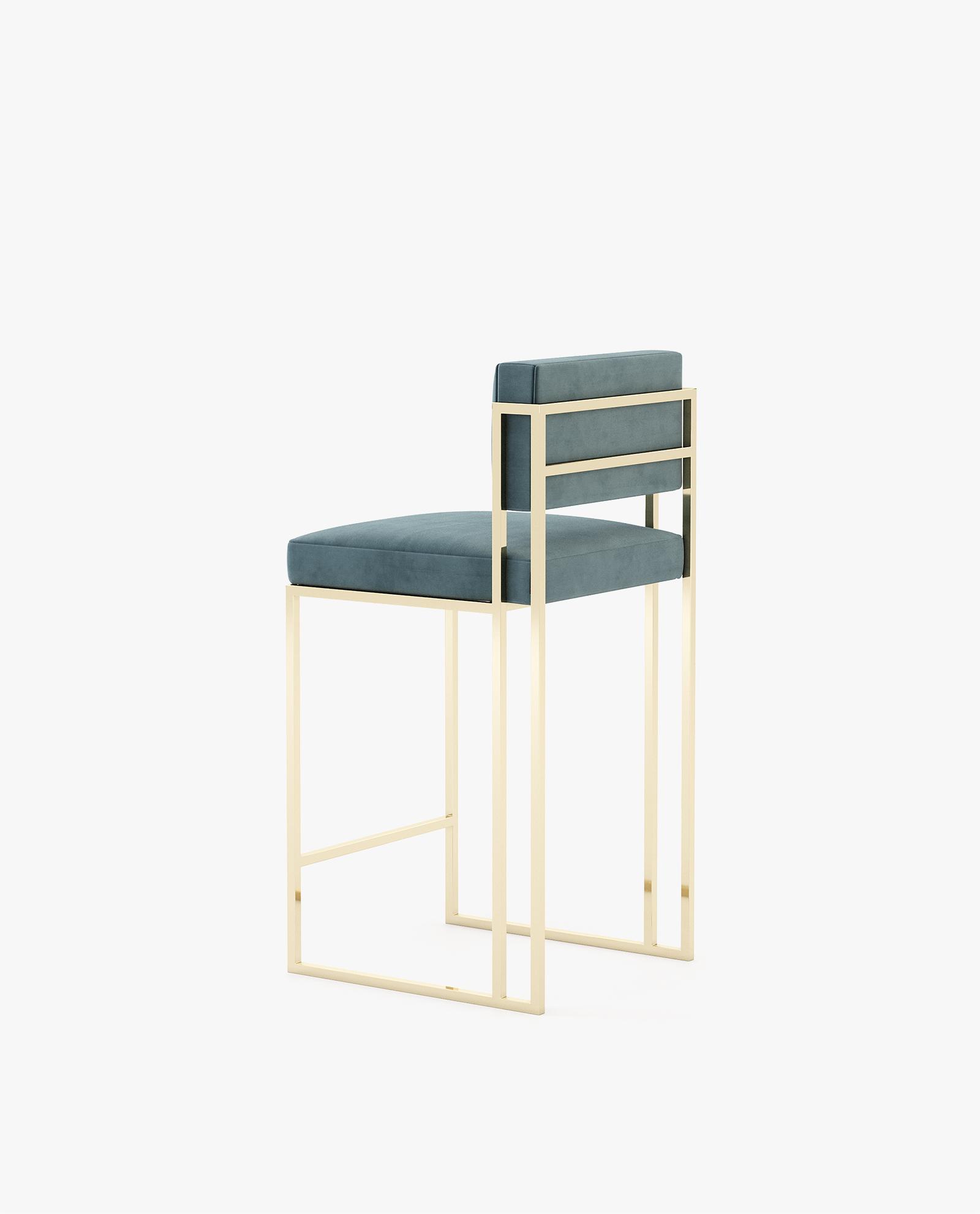 cadeira de bar em inox dourado