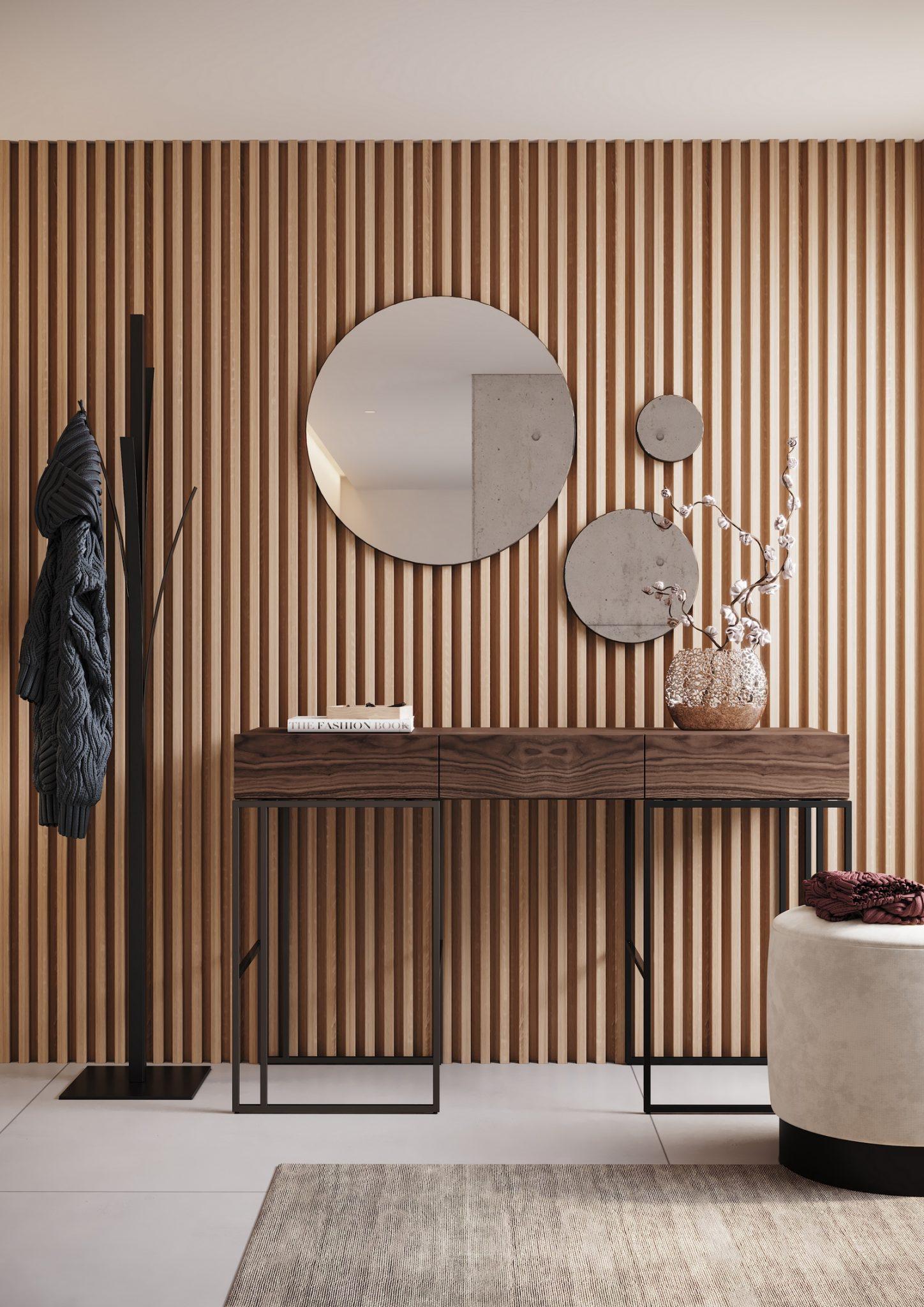 hall-de-entrada-consola-espelho-pouf