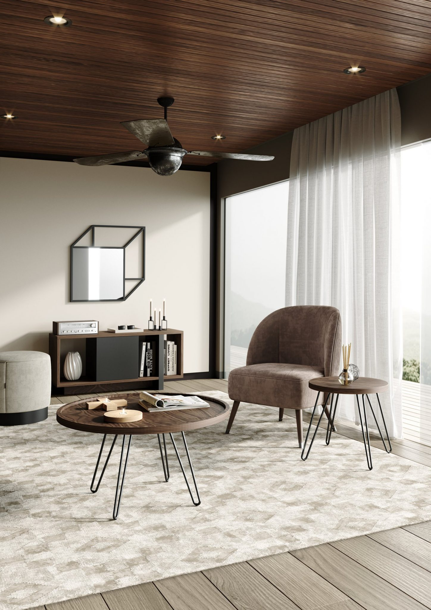sala-estar-cadeirao-castanho-mesa-centro-nogueira-ferro-preto-pouf-cinza