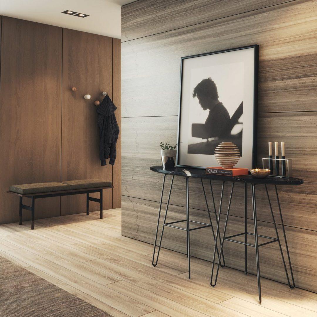 hall-entrada-consola-marmore-preto-banco-nogueira-cabide-parede