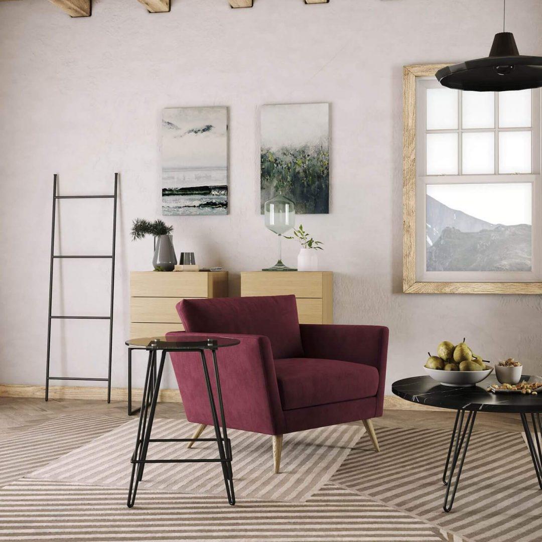 mesa-apoio-tampo-vidro-ferro-branco-cadeirao-vermelho-carvalho-mesa-centro-marmore-preto