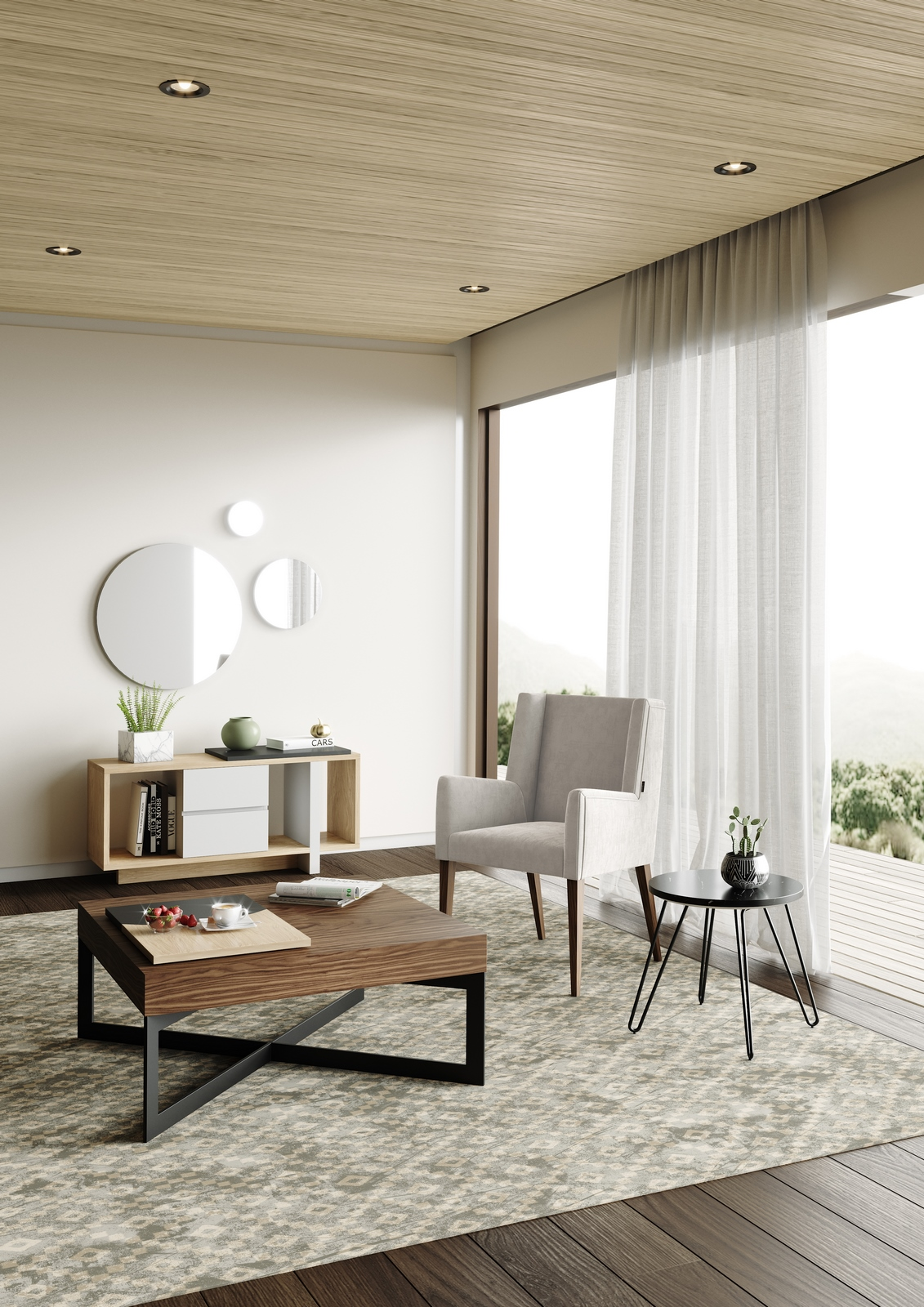 sala-estar-cadeirao-bracos-movel-apoio-mesa-centro-espelho