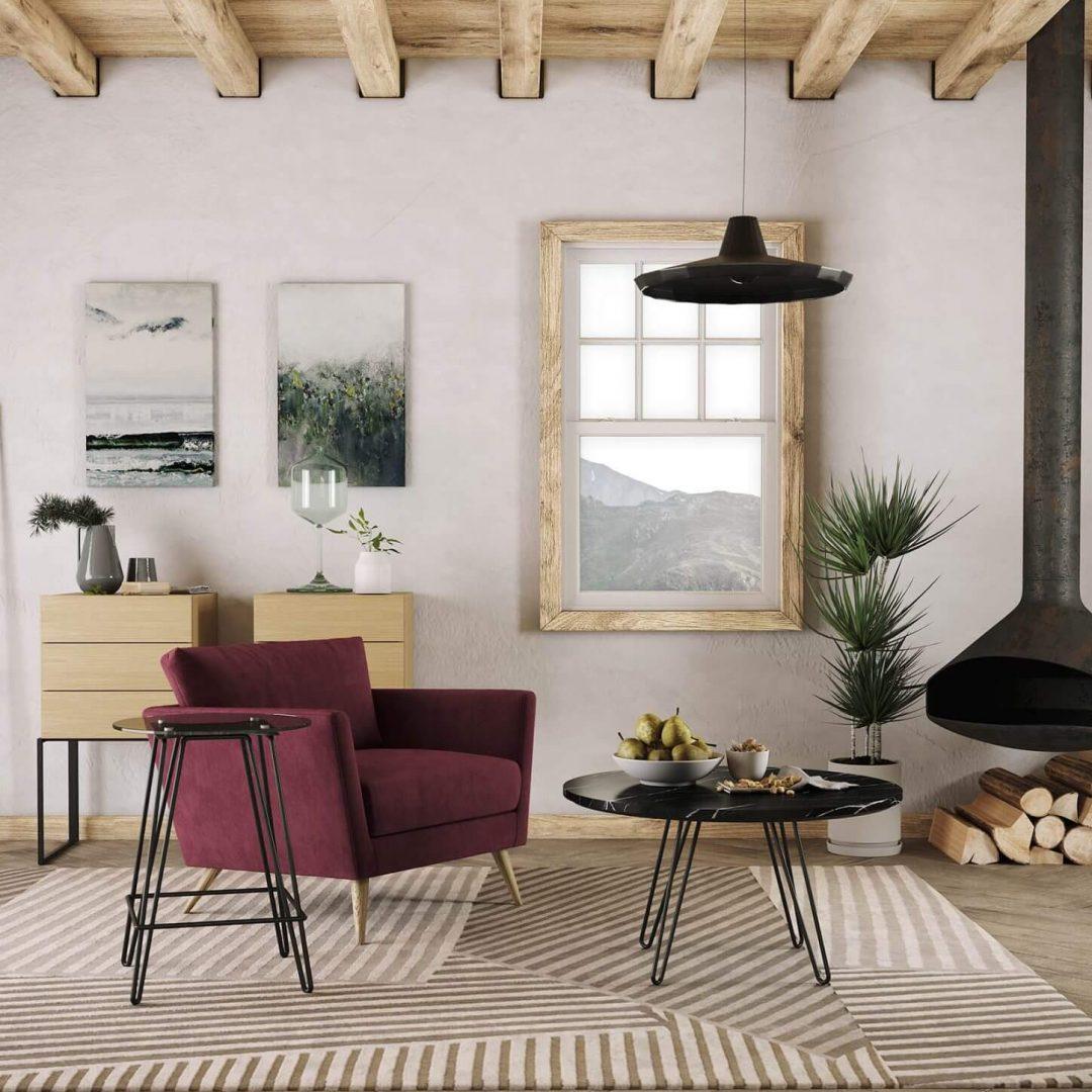 sala-estar-cadeirao-vermelho-ferro-branco-mesa-centro-marmore-preto-movel-apoio-carvalho
