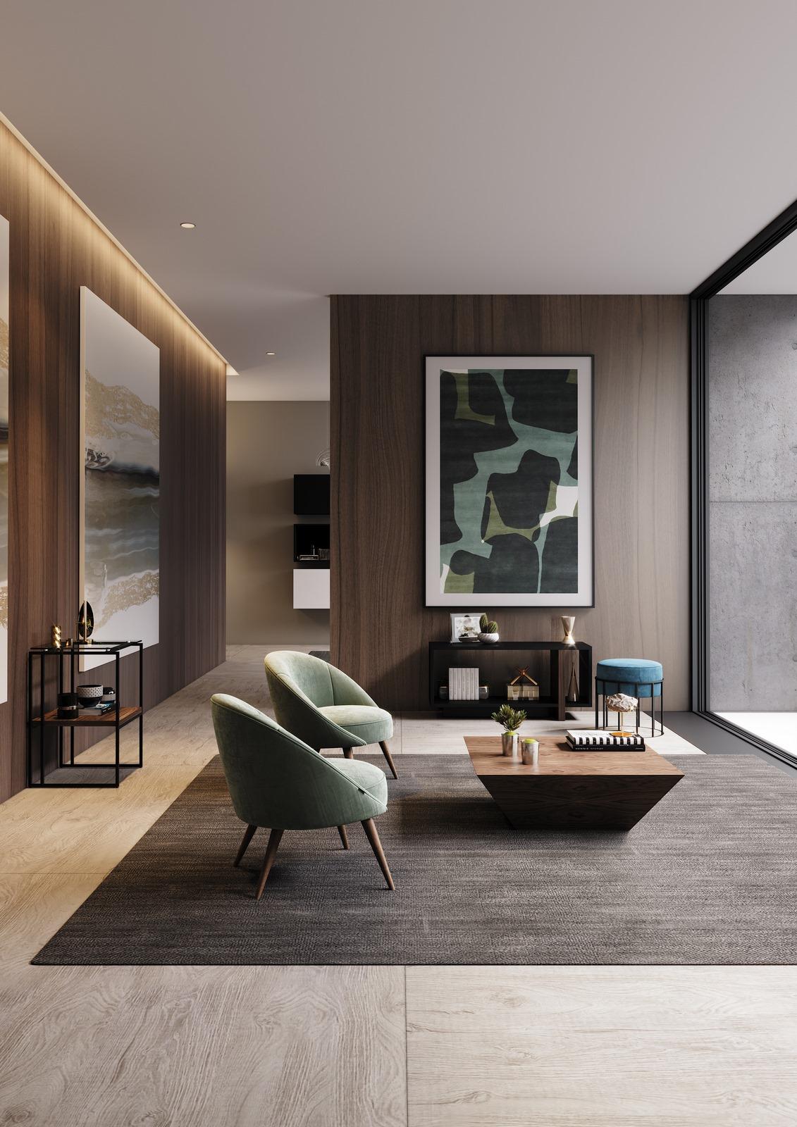 sala-estar-cadeirao-estofo-verde-nogueira-mesa-centro-movel-apoio-lacado-preto