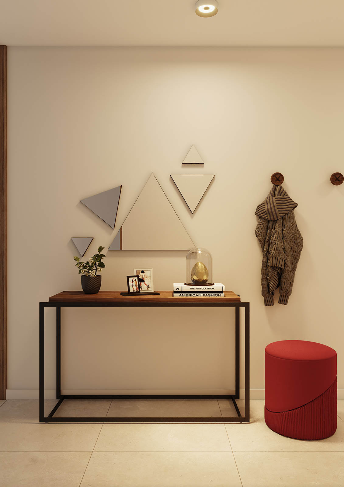 entrada-espelho-triangular-pouf-vermelho-consola-ferro-preto-nogueira