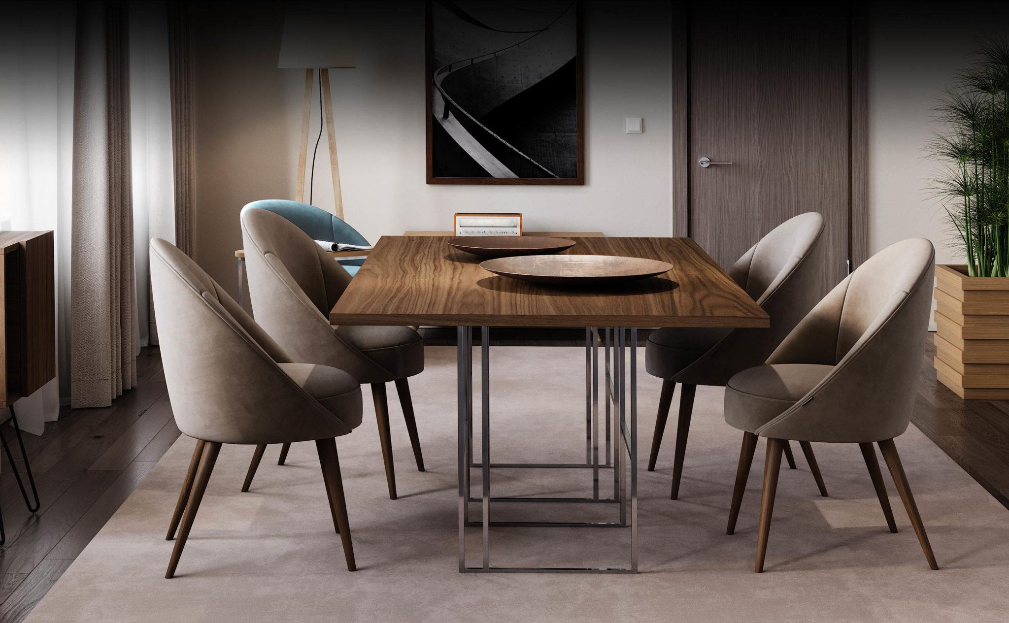 mesa-de-jantar-madeira-inox-cadeiras-bege