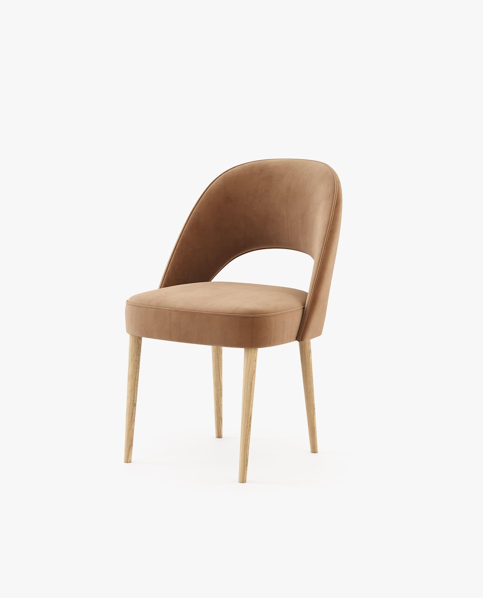 cadeira em tecido castanho para decoração sala de jantar