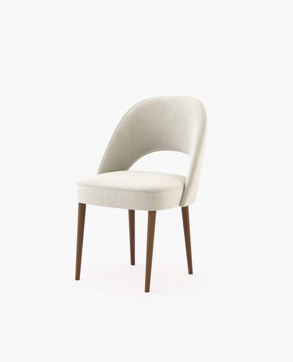 Cadeira Amour em veludo cream e nogueira Laskasas