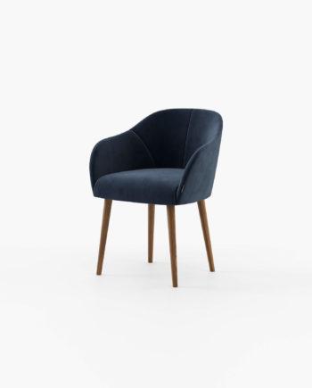 Cadeira Lili em Veludo Azul e Nogueira
