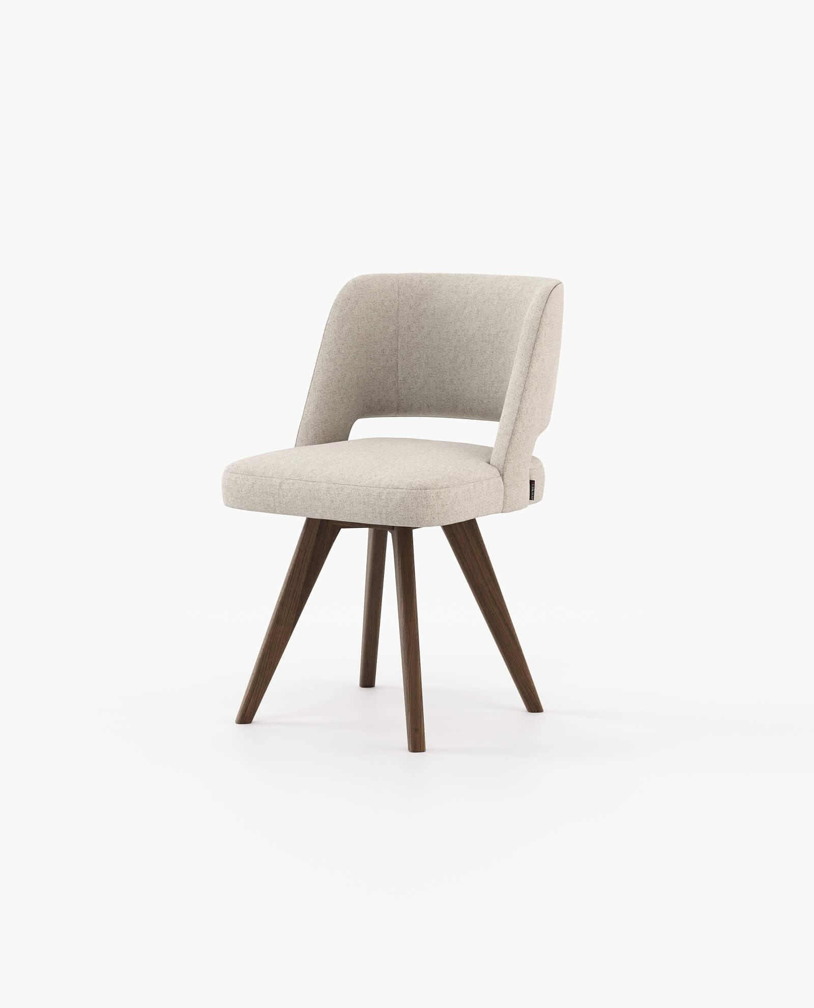 Cadeira Prestige em Tecido Alinhado Sand e Nogueira