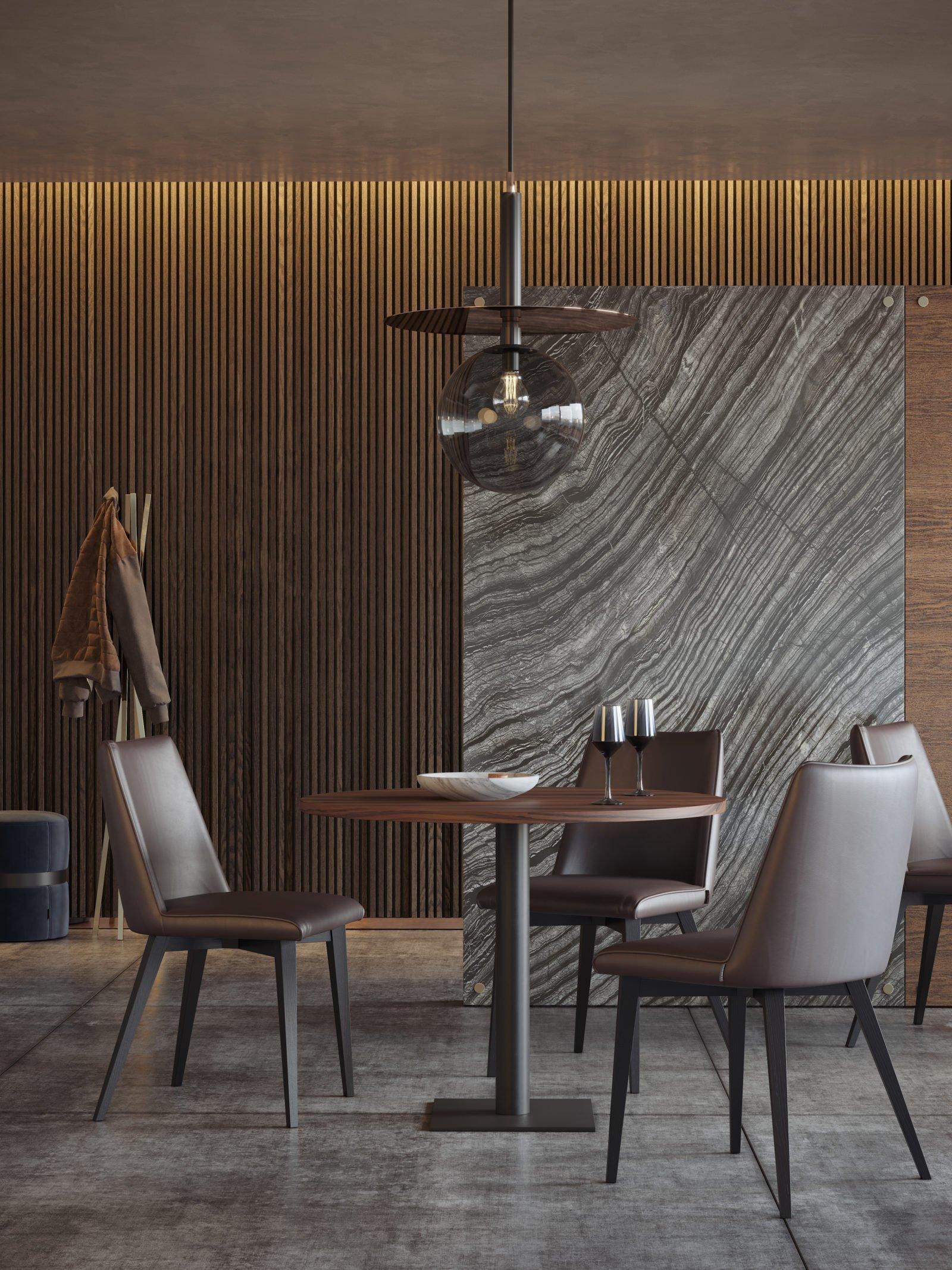 Cadeira Neusa em estofo espaço de refeição