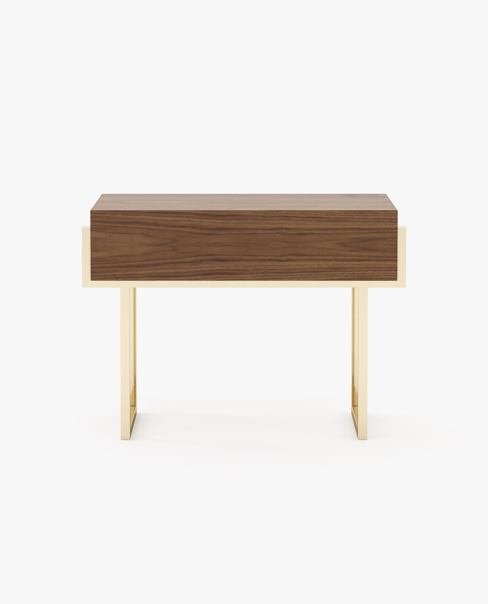 mesa de cabeceira em nogueira com inox dourado