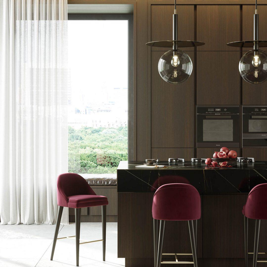 cozinha-banco-bar-baixo-lacado-preto-inox-dourado-estofo-vermelho