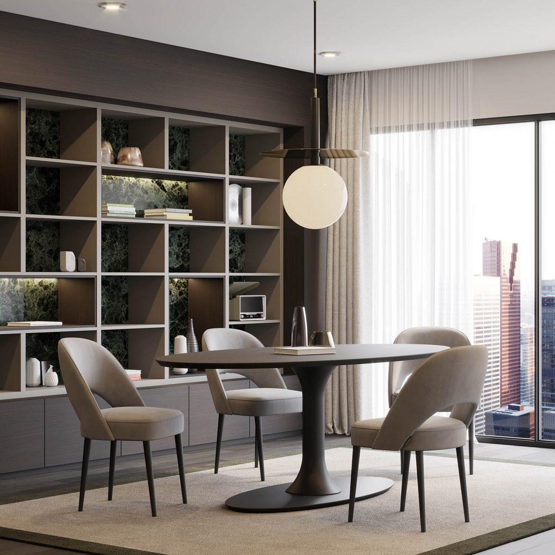 mesa-jantar-oval-madeira-cadeira-estofo-bege-lacado-preto (2)