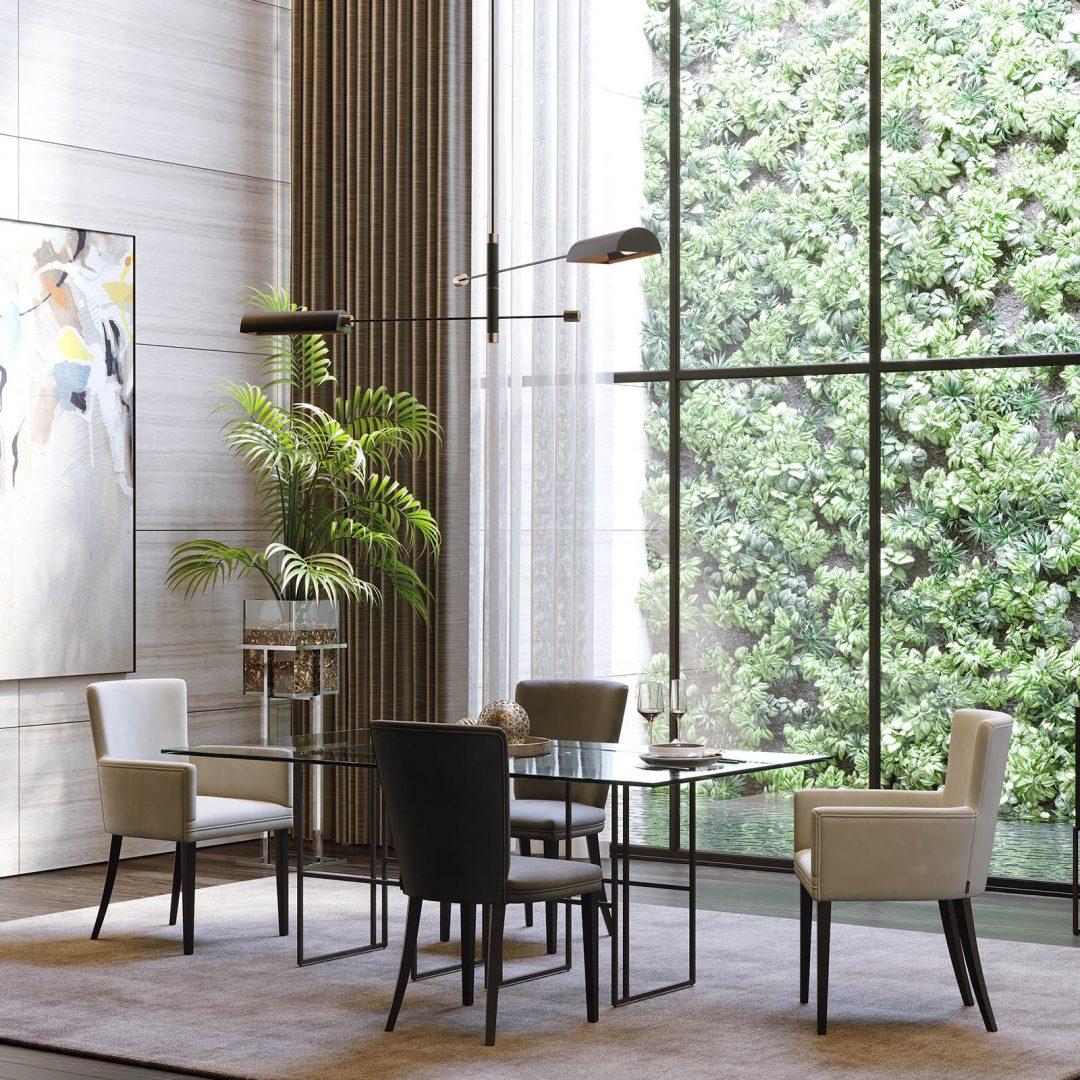 mesa-tampo-vidro-ferro-preto-cadeira-bracos-estofo-bege-preta (1)