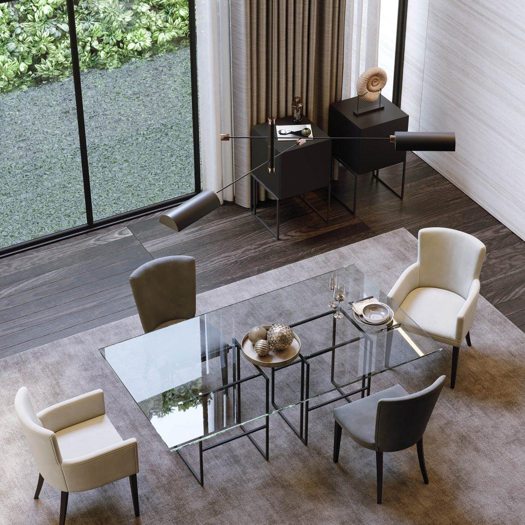 mesa-tampo-vidro-ferro-preto-cadeira-bracos-estofo-bege-preta (2)
