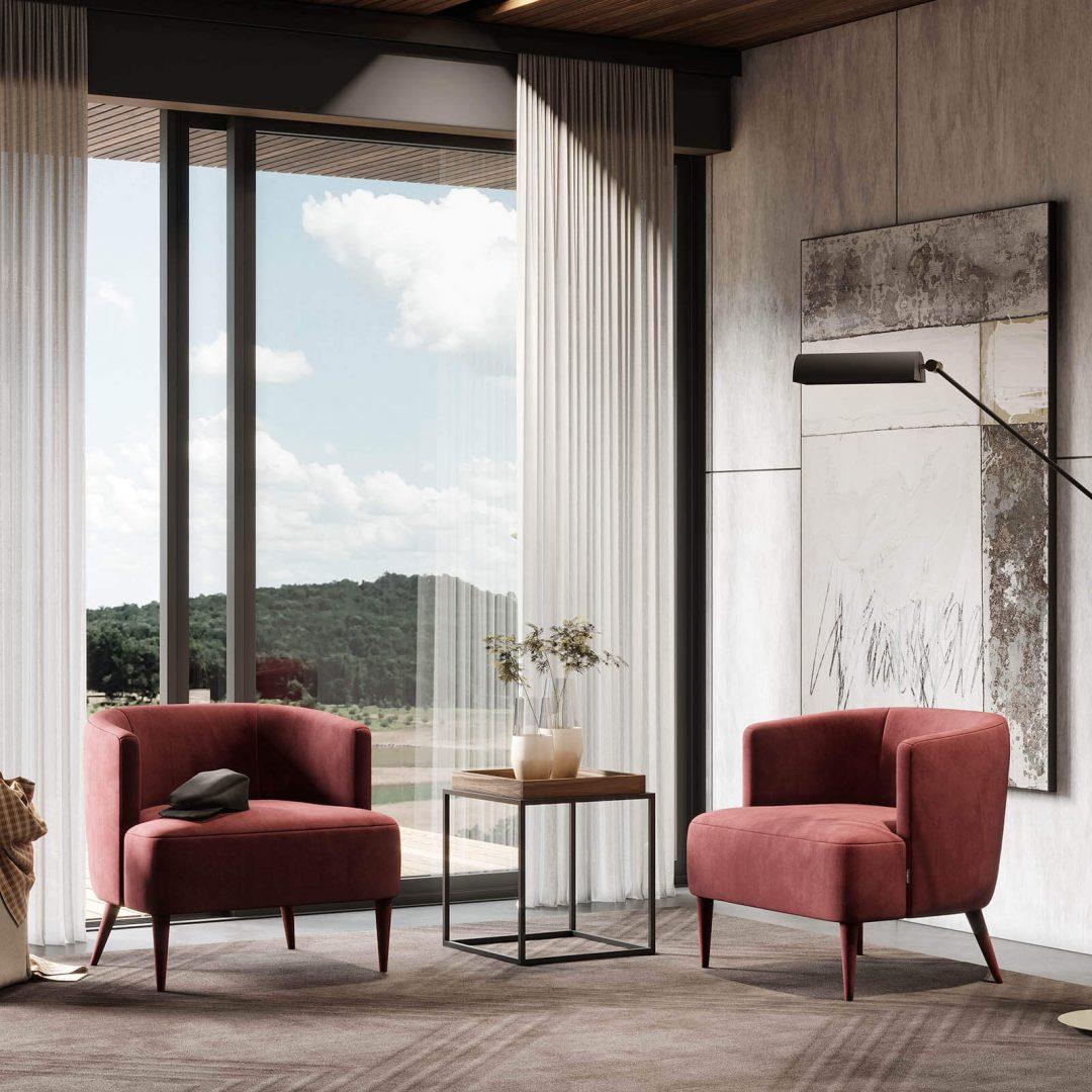 sala-estar-cadeirao-estofo-vermelho-mesa-apoio-ferro-preto-nogueira (1)