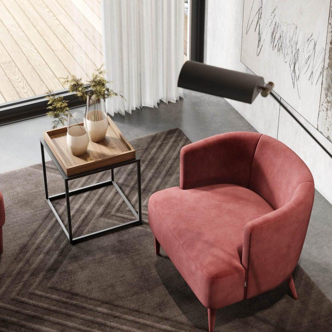 sala-estar-cadeirao-estofo-vermelho-mesa-apoio-ferro-preto-nogueira (2)
