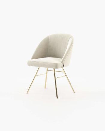 Cadeira Loren em Veludo Creme e Inox Dourado, Laskasas