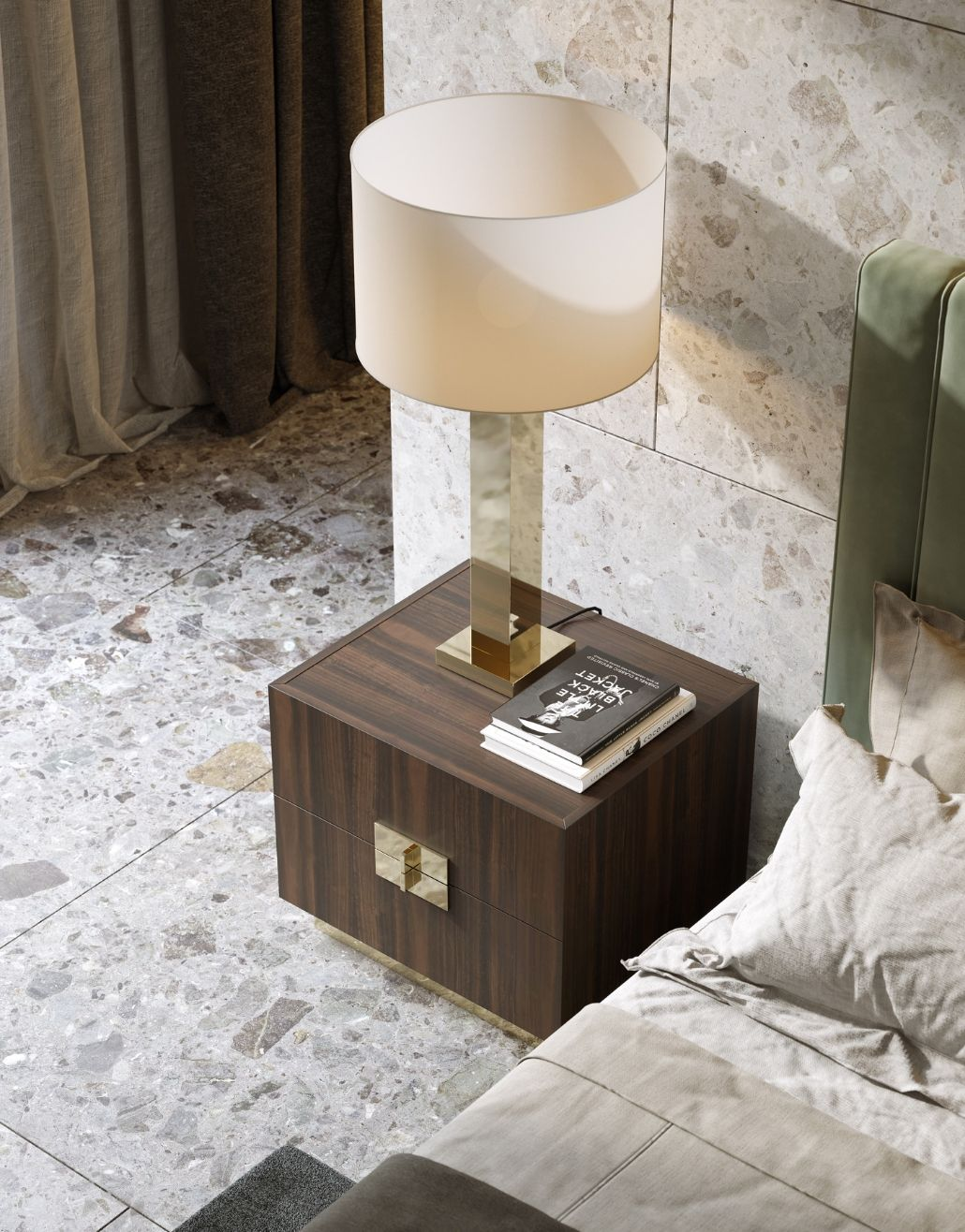 candeeiro com inox dourado para quarto moderno