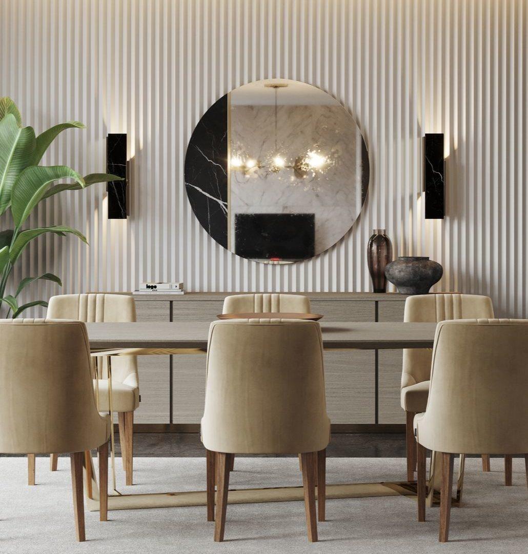 sala de jantar moderna com cadeiras em veludo bege