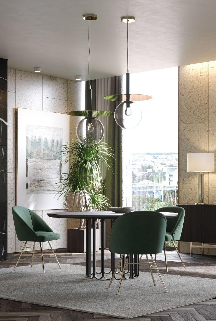cadeira verde em estofo para sala de jantar moderna