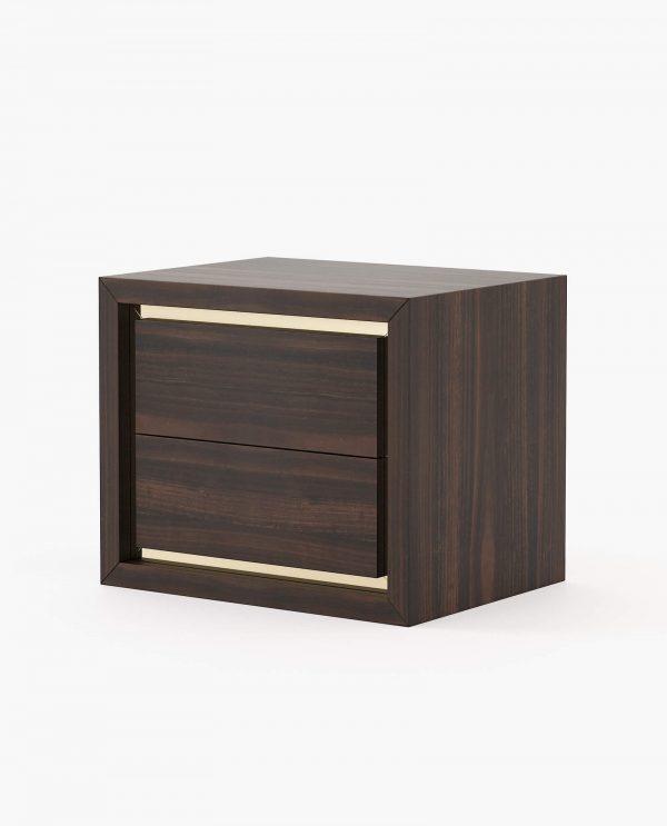 mesa de cabeceira em madeira com detalhes dourado
