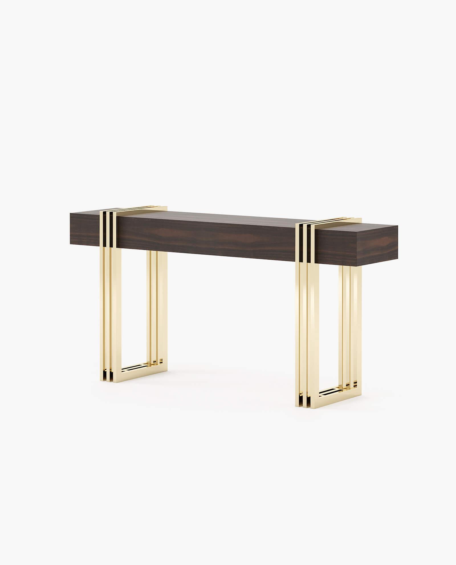 consola em madeira de eucalipto com detalhes dourados