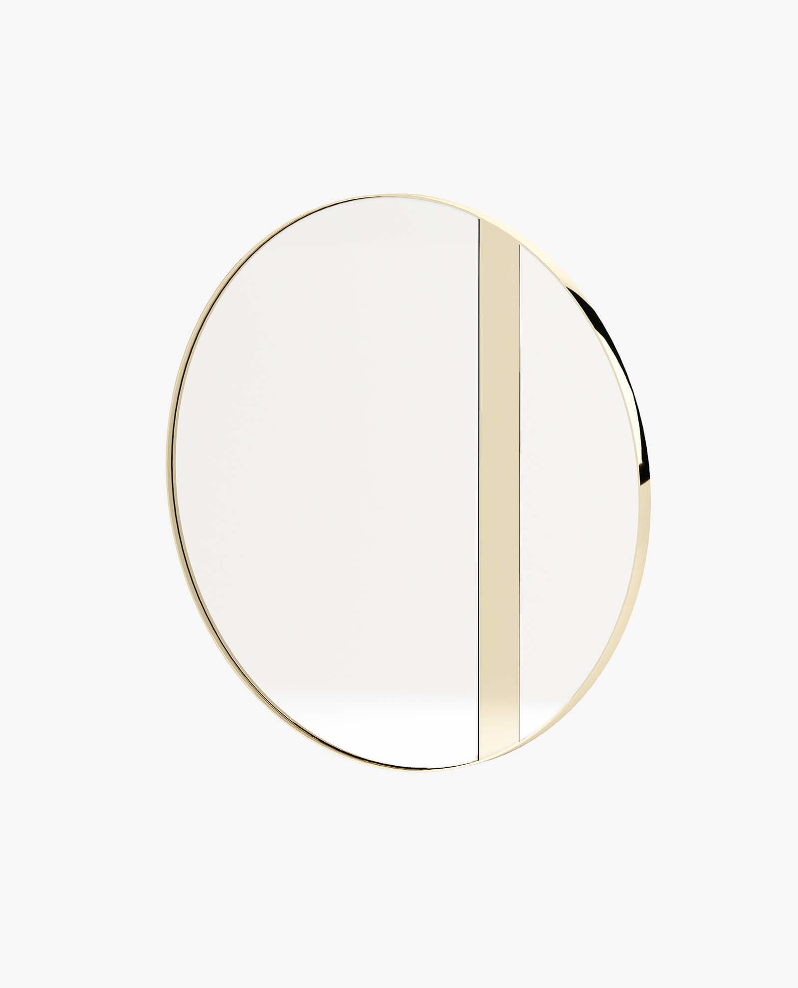 espelho moderno com detalhes dourados