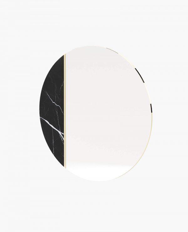 espelho com mármore e detalhe metálico