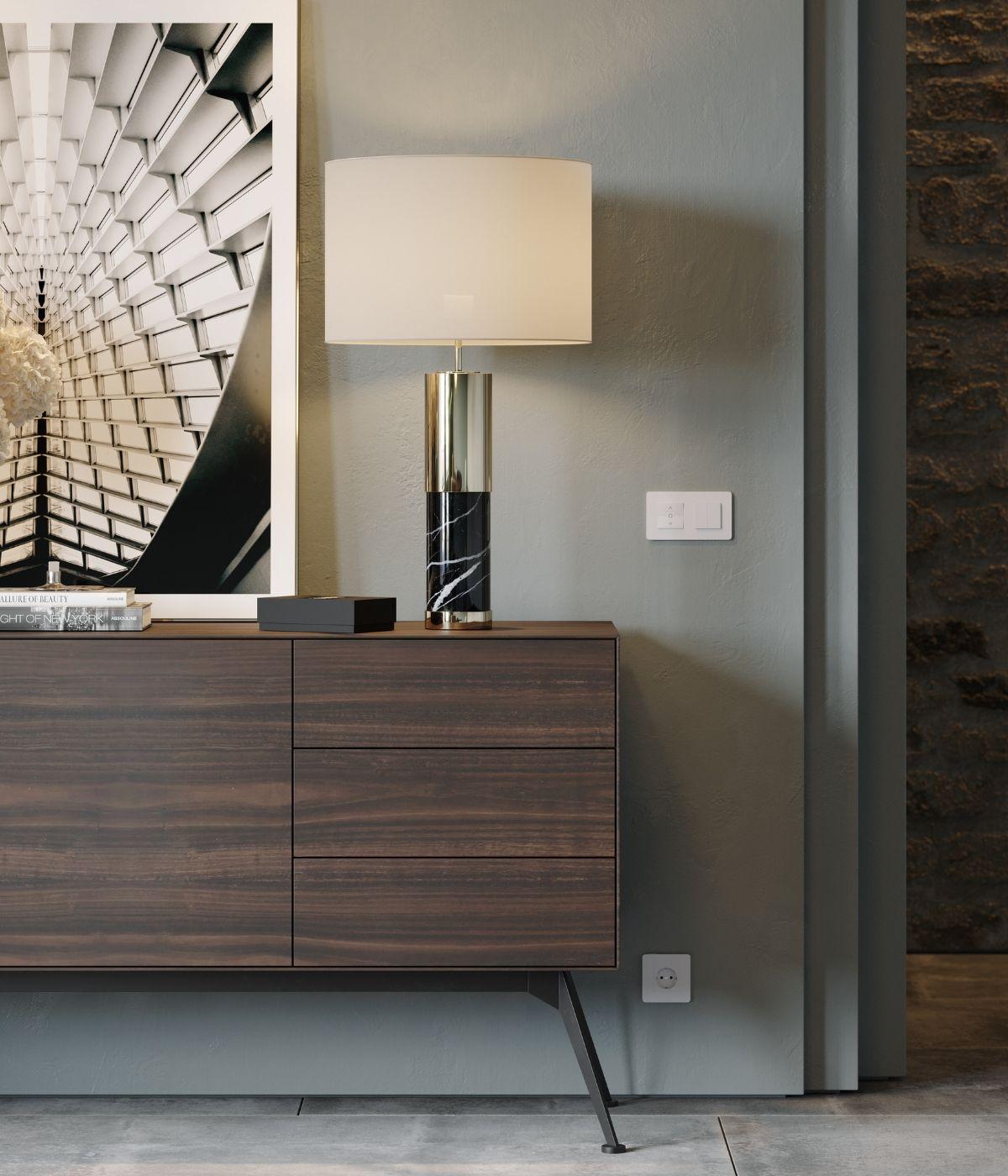 sala de jantar moderna com madeira e metal