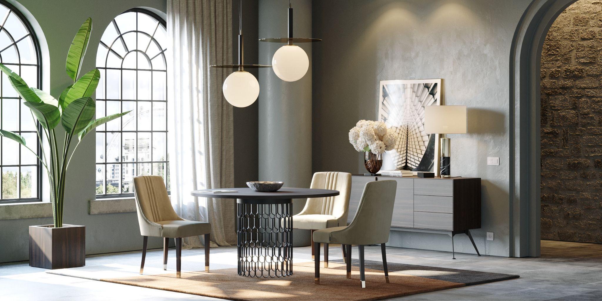 sala de jantar moderna com pormenores de madeira e metal