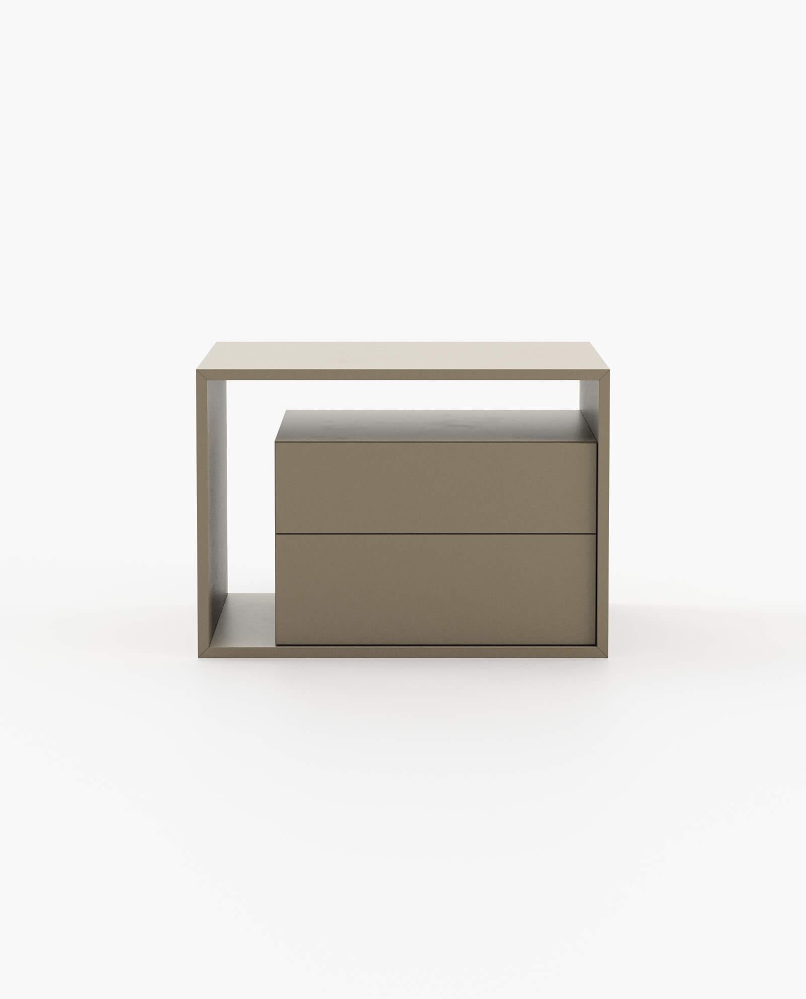 mesa de cabeceira em lacado cinza para quarto moderno
