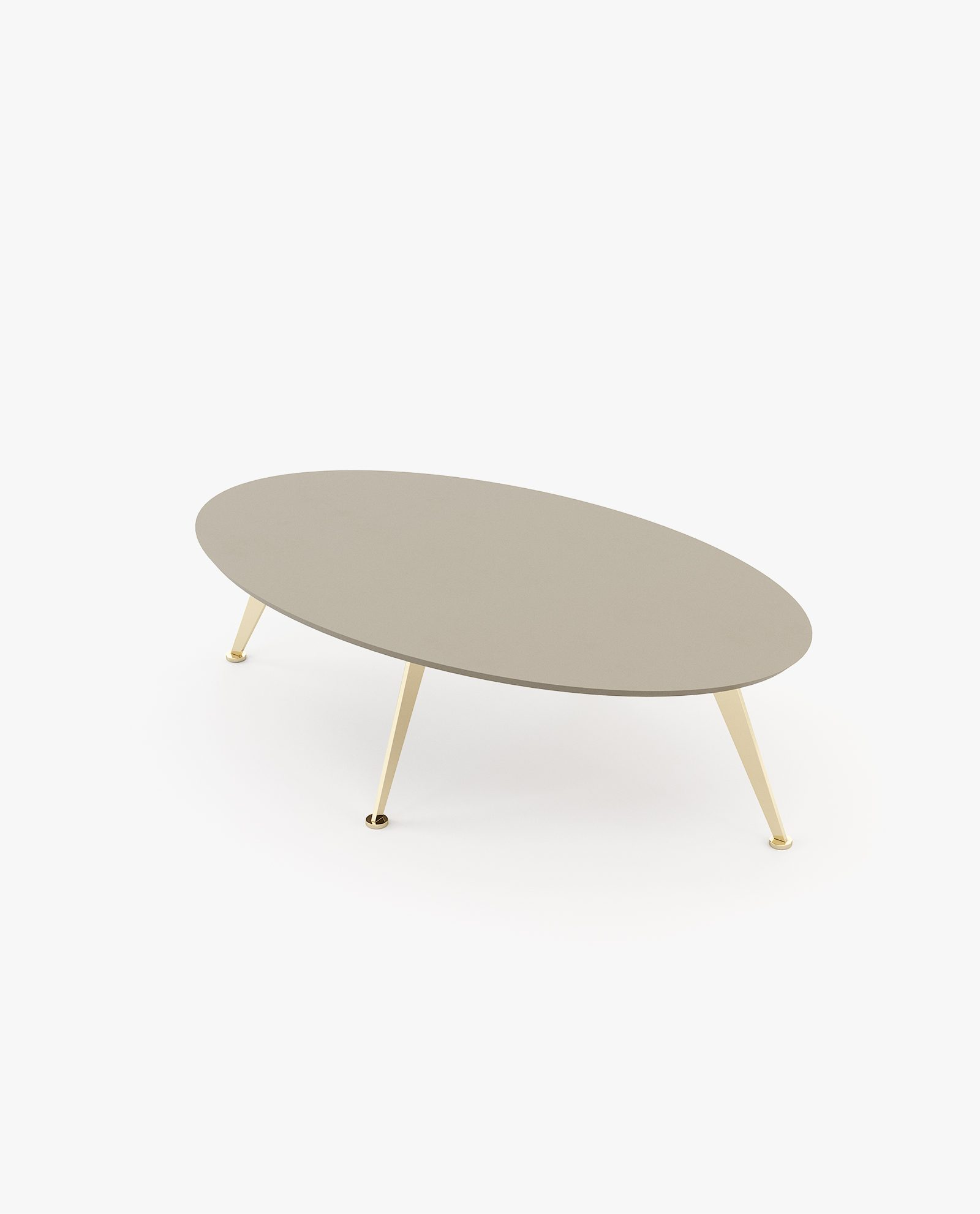 mesa de centro lacada a cinza com inox dourado