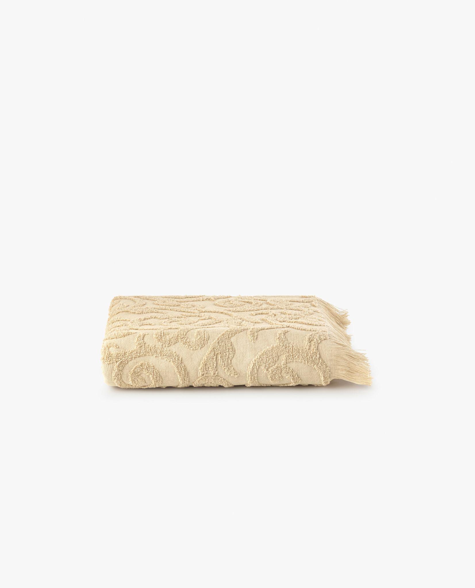 toalha de rosto em tecido camel