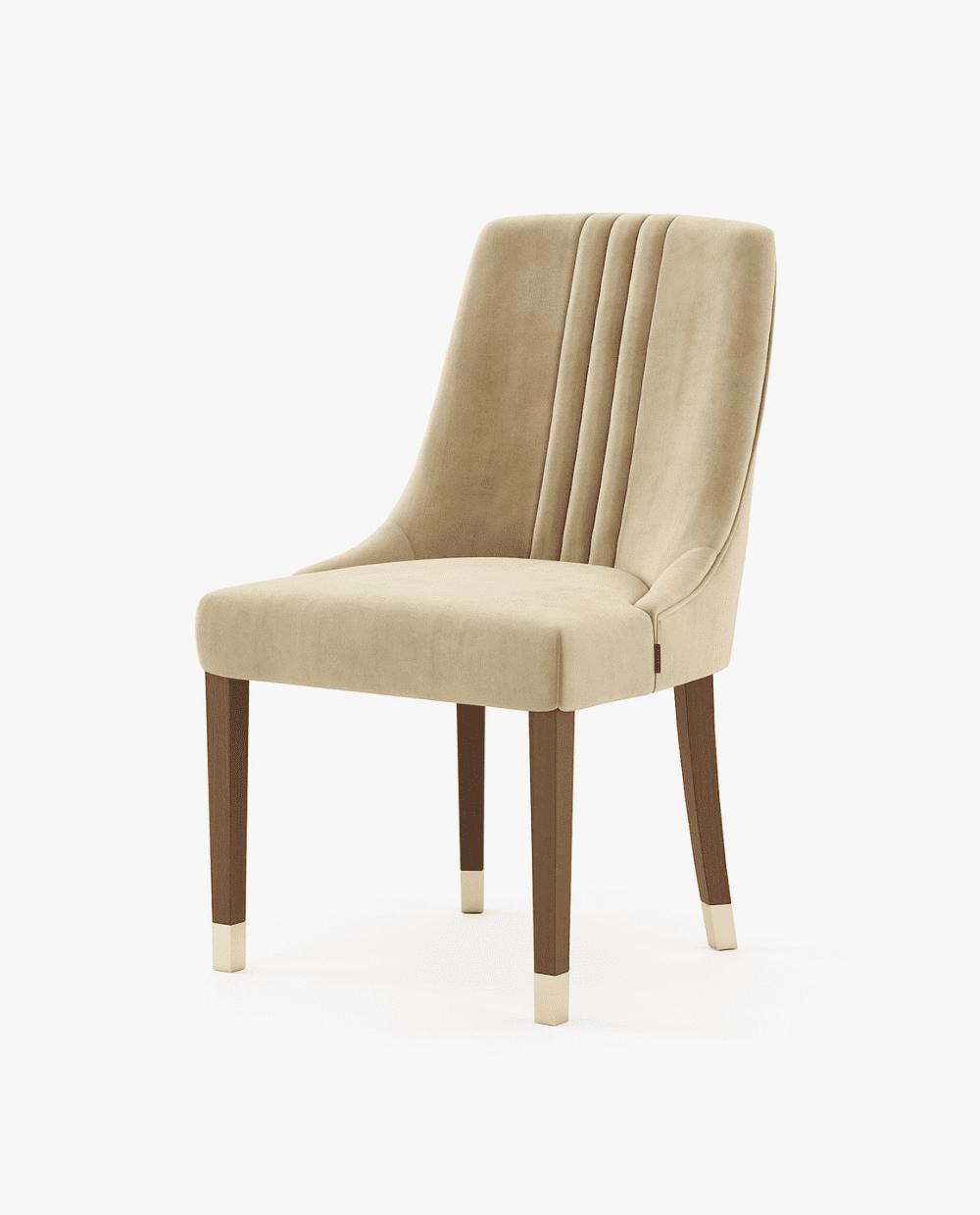 cadeira moderna com tecido camel