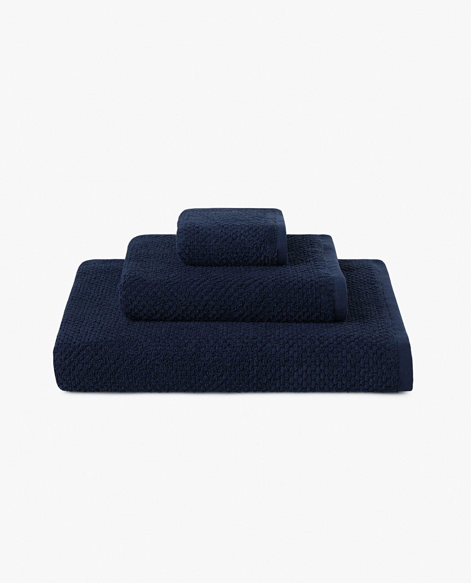 conjunto de toalhas 100% algodão em tecido azul marinho