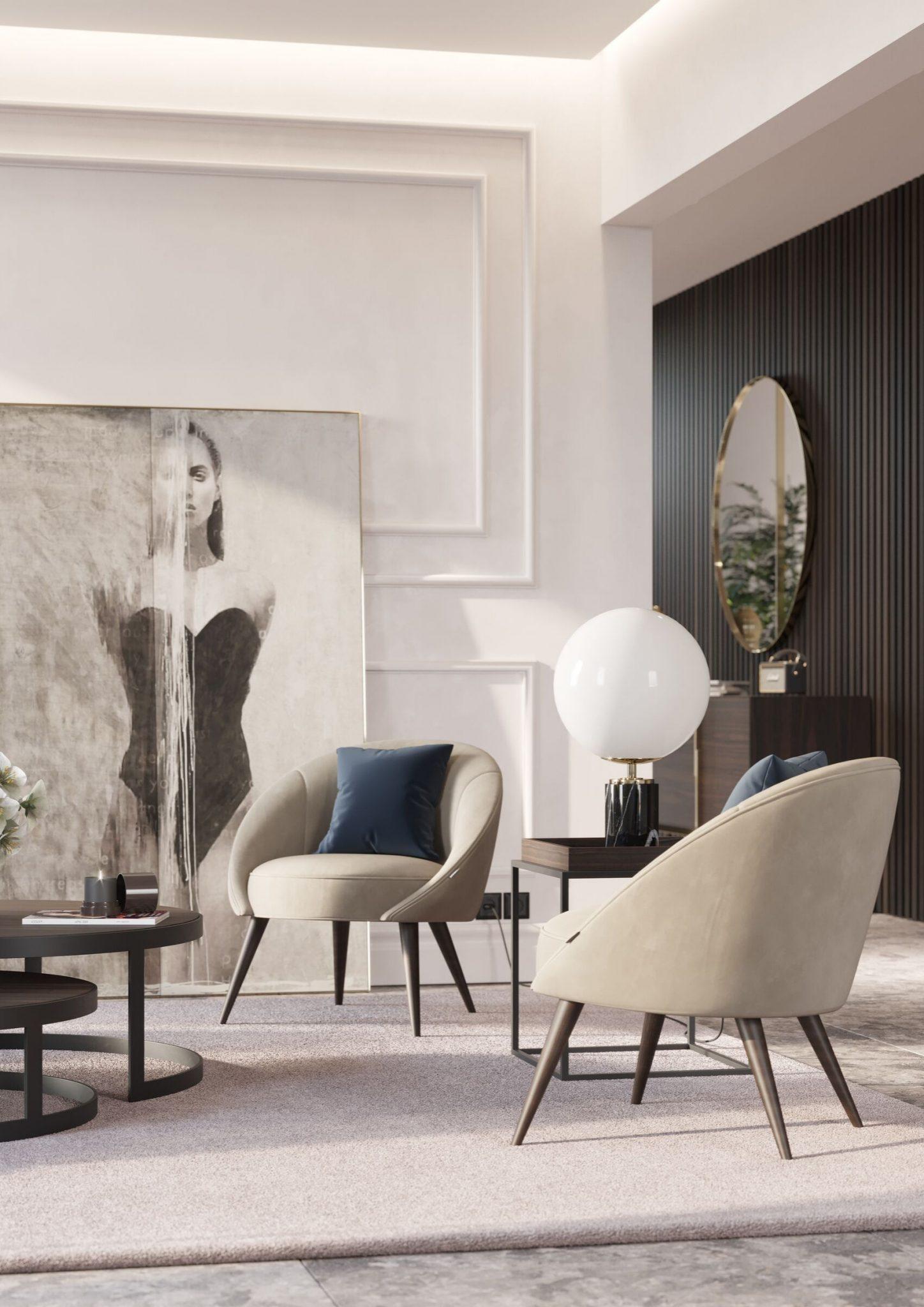 sala de estar moderna com cadeirão em estofo bege