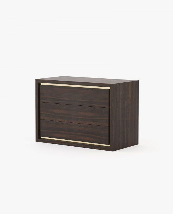 cómoda em madeira de eucalipto com detalhe em inox dourado