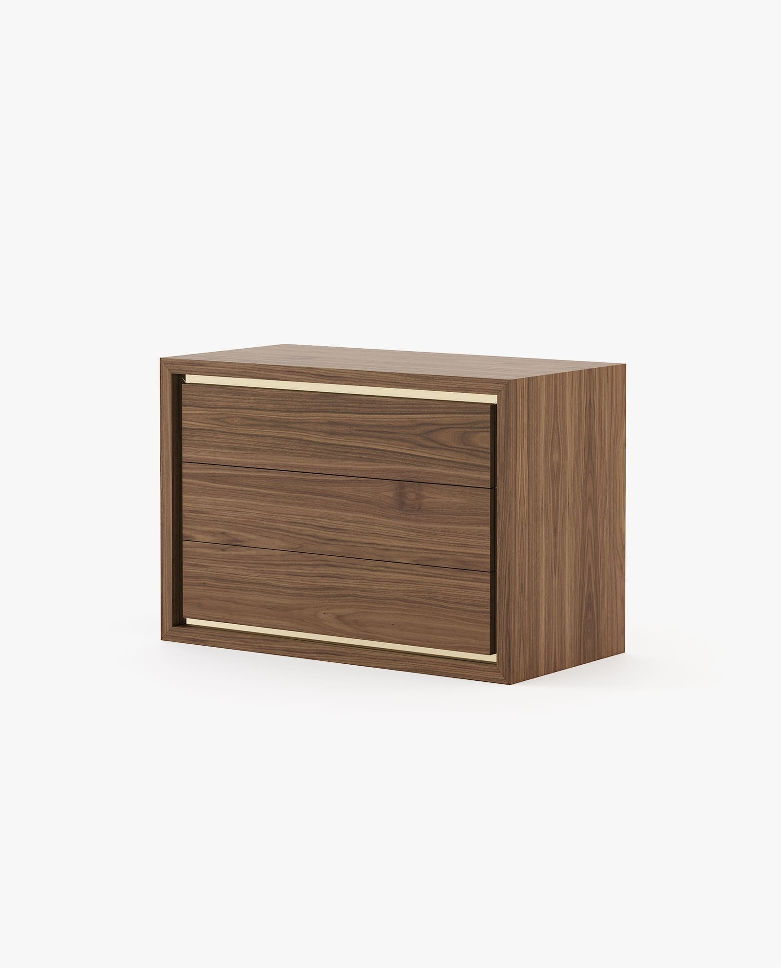 cómoda em madeira de nogueira com detalhe em inox dourado