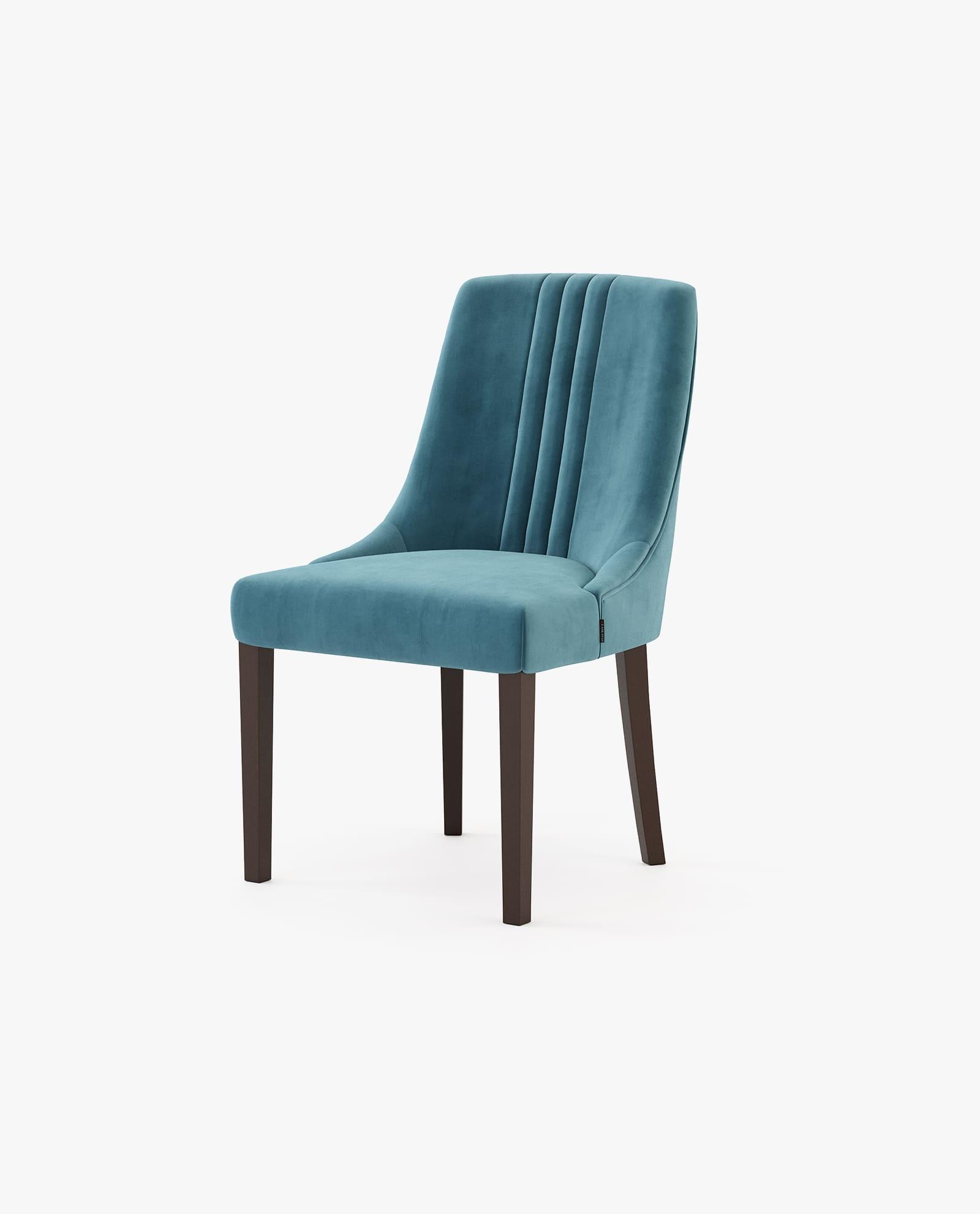 cadeira em estofo azul com madeira eucalipto fumé