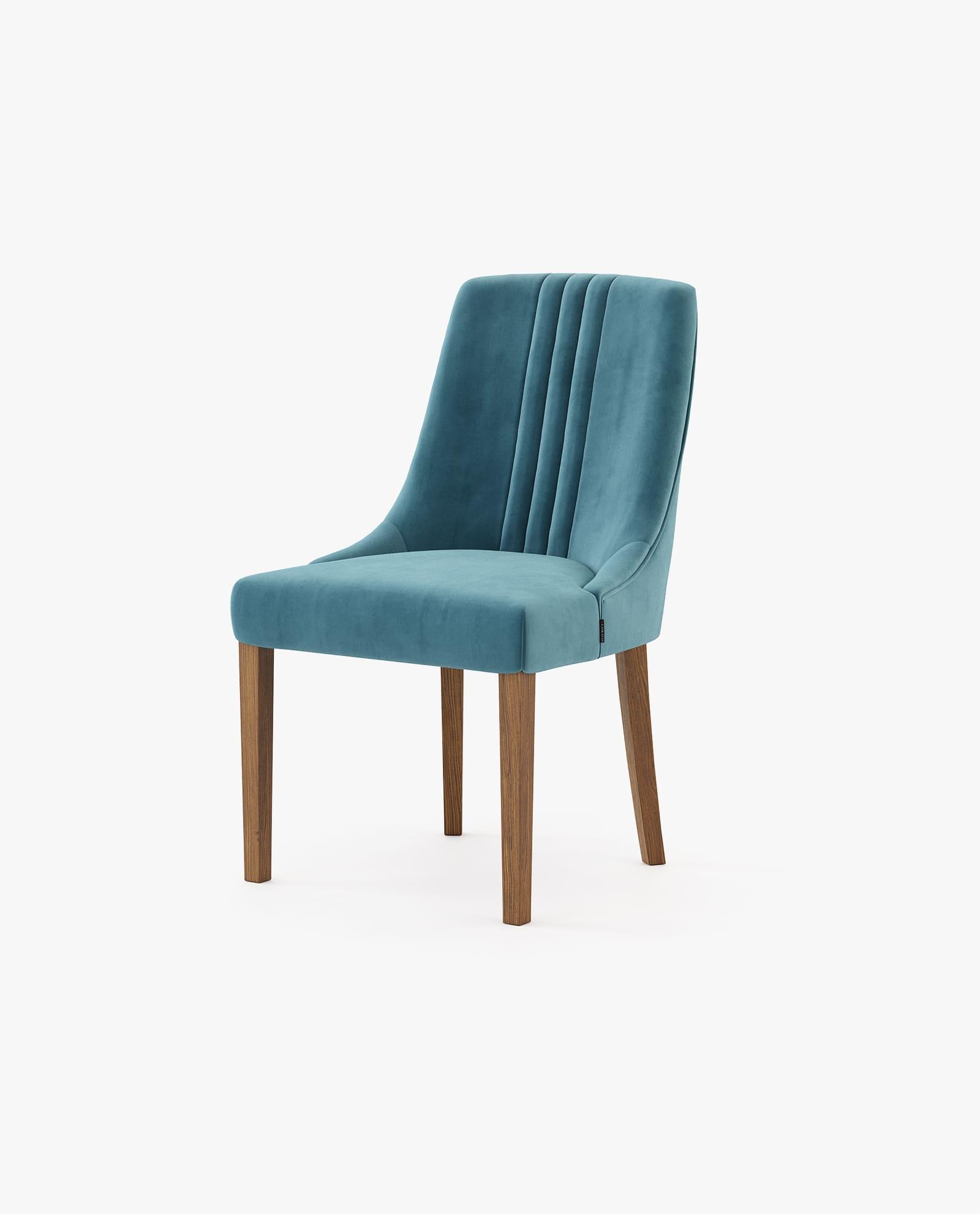 cadeira em estofo azul com madeira de nogueira