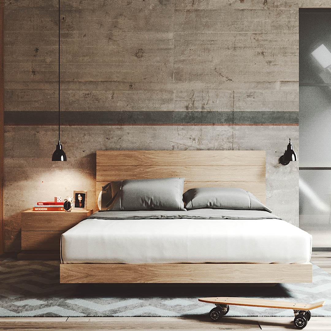 quarto completo em madeira com decoração moderna