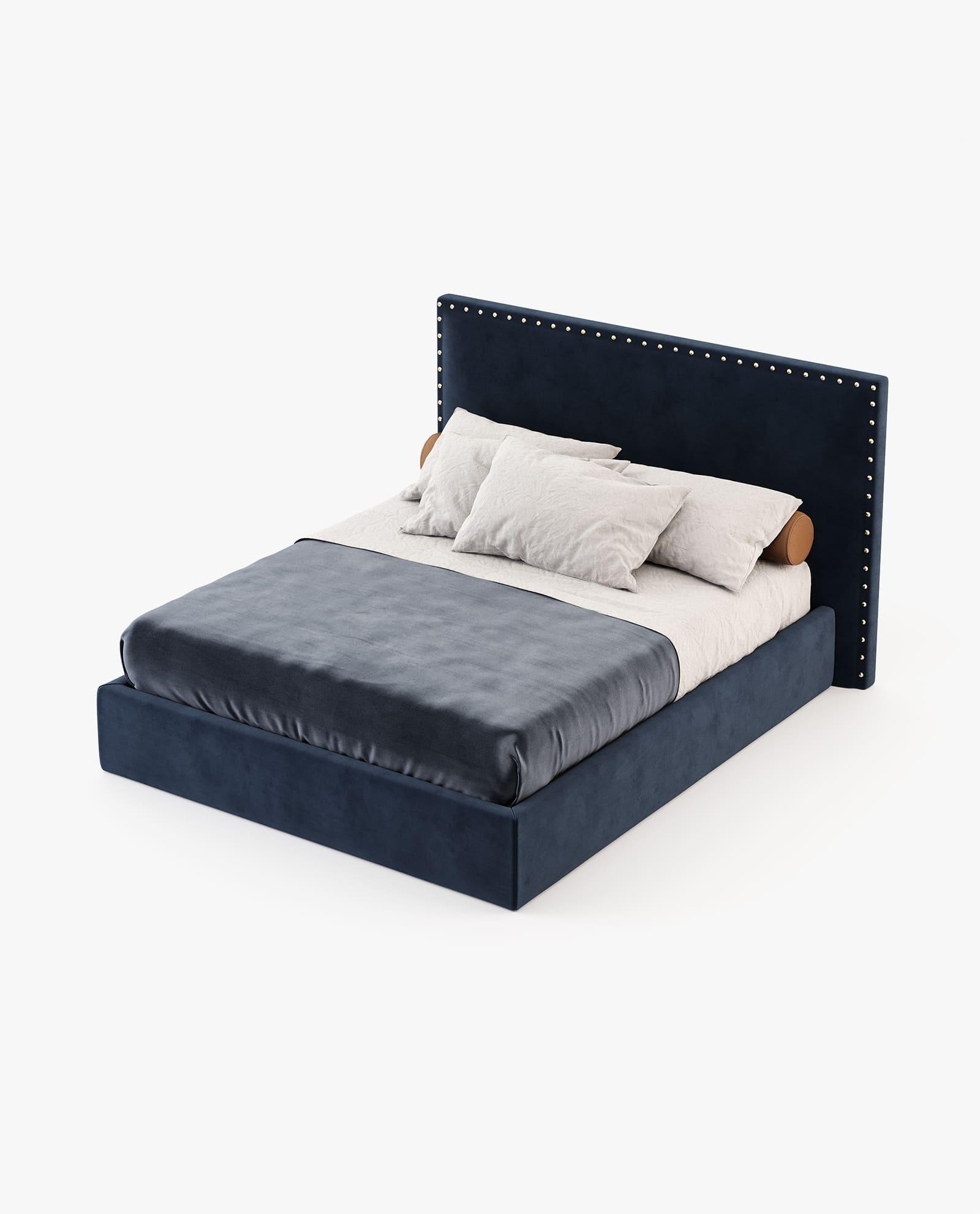 cama em veludo azul marinho para quarto moderno