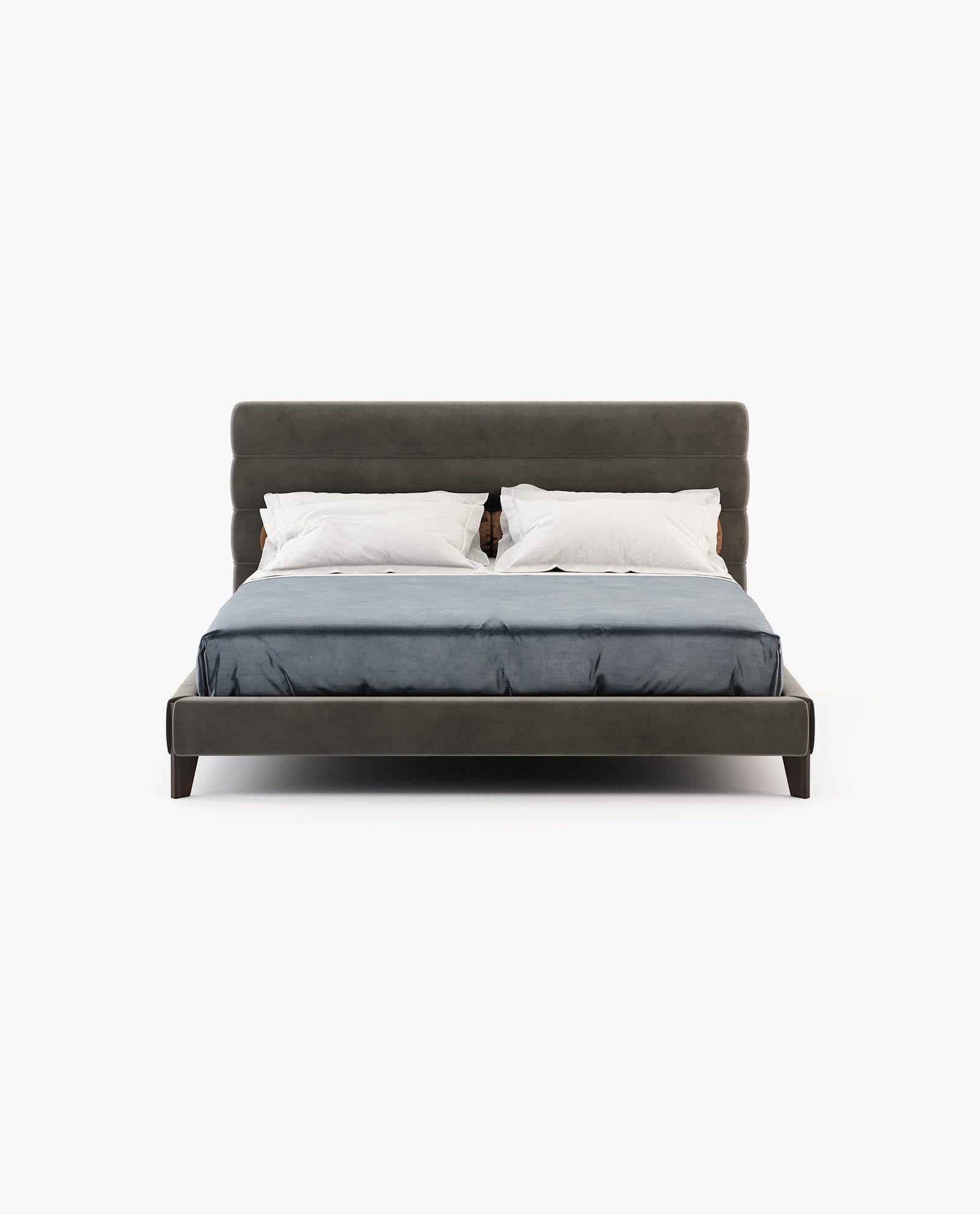cama yummi em castanho com pés em eucalipto