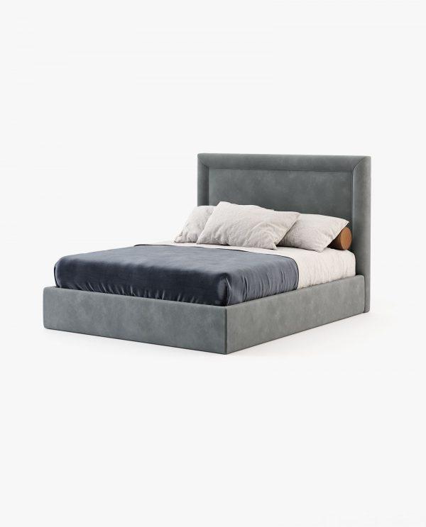 cama com estofo em cinza