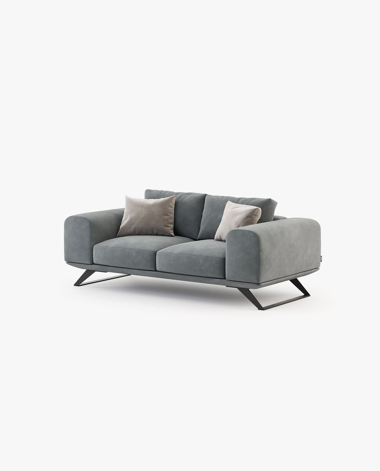 sofá 2 lugares em veludo cinza