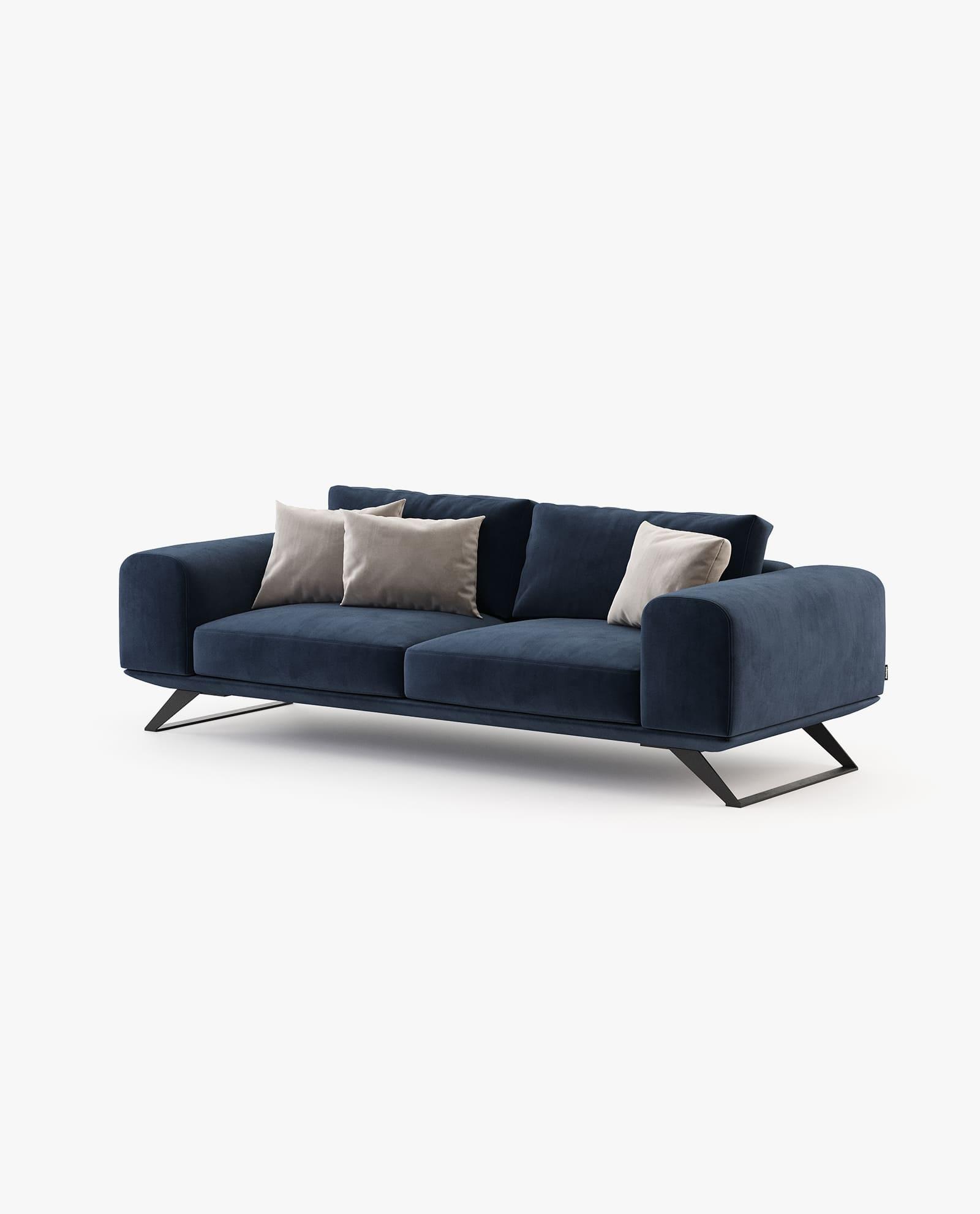sofá 3 lugares em veludo azul marinho