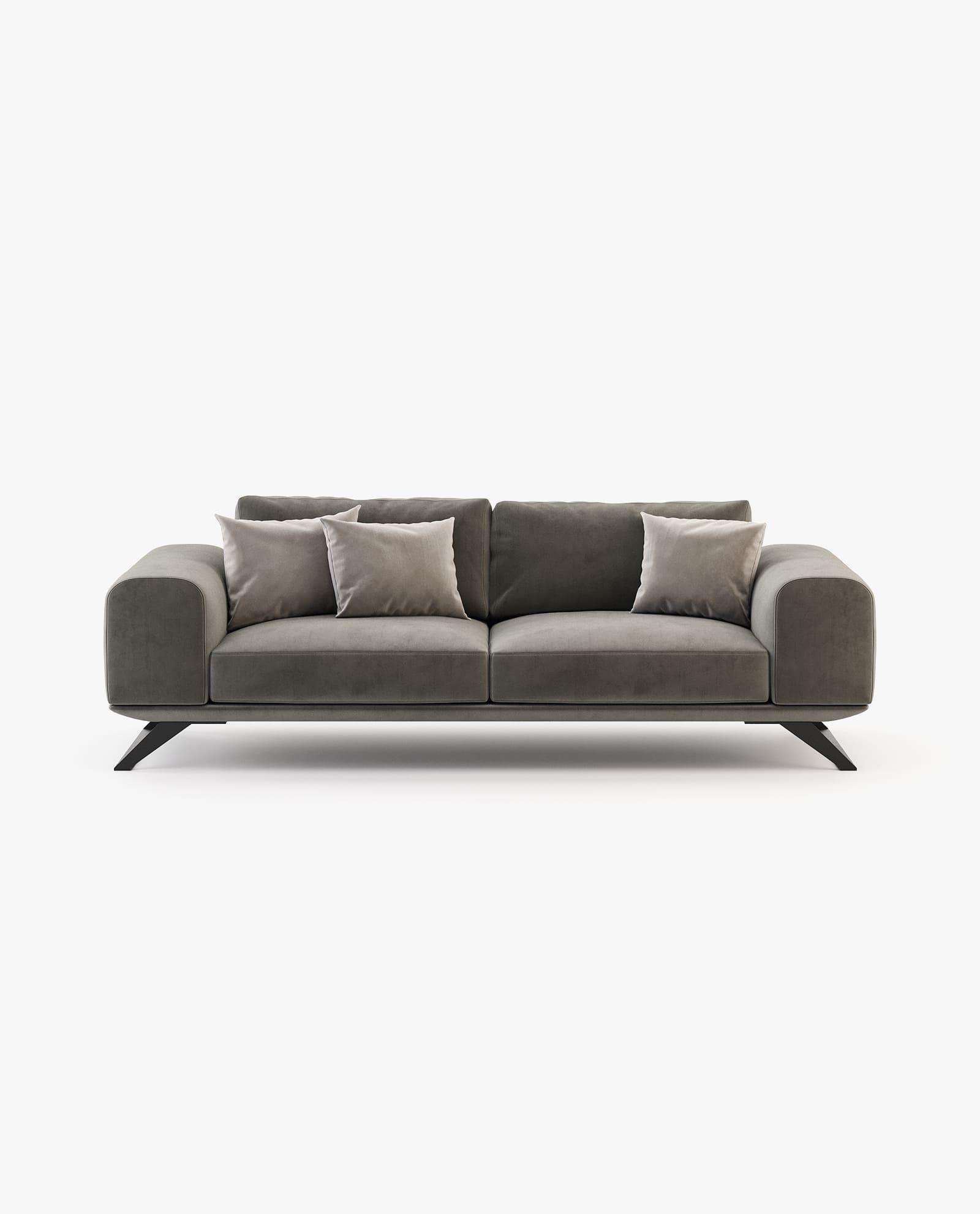 sofá 3 lugares em veludo castanho